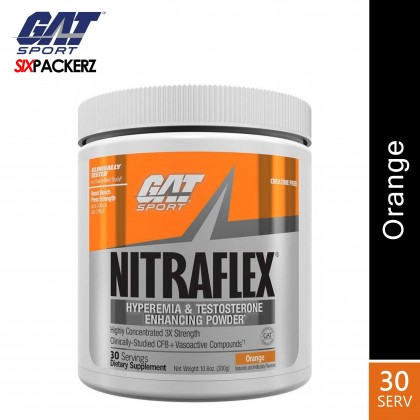 GAT Nitraflex 30 servings Pre Workout and Testosterone Booster - Orange