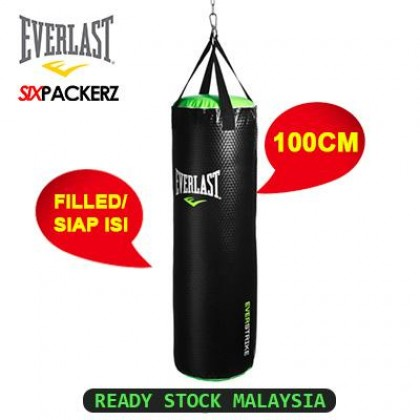 EVERLAST Everstrike 100cm Boxing Muay Thai Training Kick Punching Heavy Bag Beg MMA Sand bag Leather Punching Bag Filled Siap isi