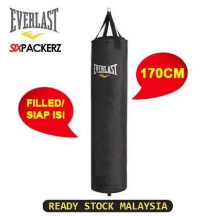 EVERLAST Boxing Muay Thai Training Kick Punching Heavy Bag Beg MMA Sand bag (170cm) Leather Punching Bag Filled Siap isi