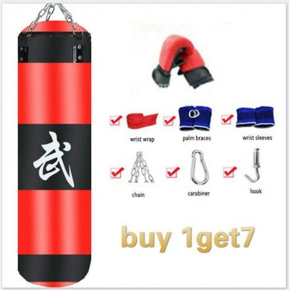 PREMIUM EXTRA LARGE 100CM Boxing Punching Bag Heavy MMA Training Fitness Kick Fight Sand Pouch Bag + Bandages and Gloves