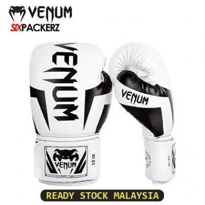 [READY STOCK] VENUM Professional Boxing Muay Thai Training Punching Bag Gloves 12oz-WHITE