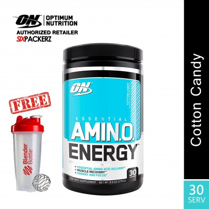 Optimum Nutrition Essential Amino Energy, Cotton Candy 30 Servings [FREE SHAKER]