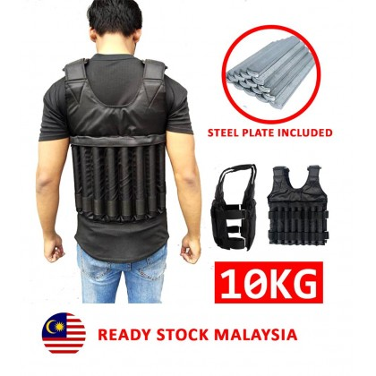 Weight Vest 10kg With Steel Plate Bar / Baju Besi With Steel Plate Included
