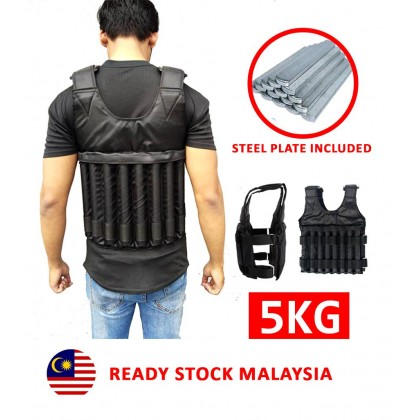 Weight Vest 5kg With Steel Plate Bar / Baju Besi With Steel Plate Included
