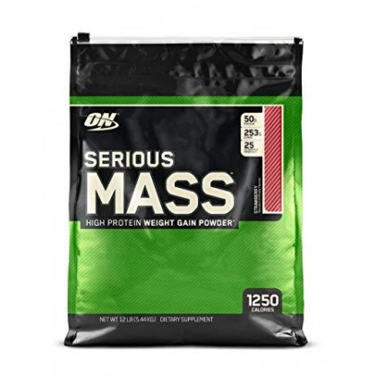 Optimum Nutrition Serious Mass, Strawberry, 12lbs (FREE Gold Standard Whey Sample)