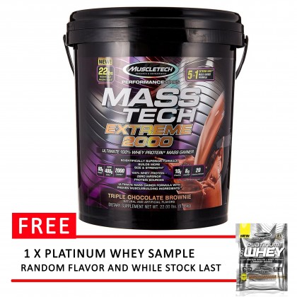 MuscleTech Mass Tech Extreme 2000, 22lbs (FREE PLATINUM WHEY SAMPLE)