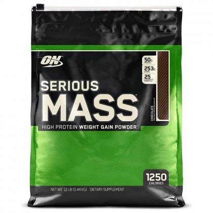 Optimum Nutrition Serious Mass, Chocolate, 12lbs (FREE Gold Standard Whey Sample)