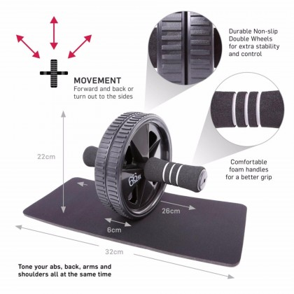 Double Wheel ABS Roller with Free Knee Mat (black color)