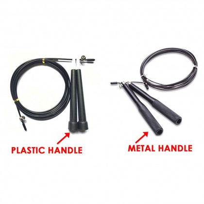 UPGRADE VERSION High speed Steel Wire Skipping Adjustable Jump Rope Tali Skipping - Black
